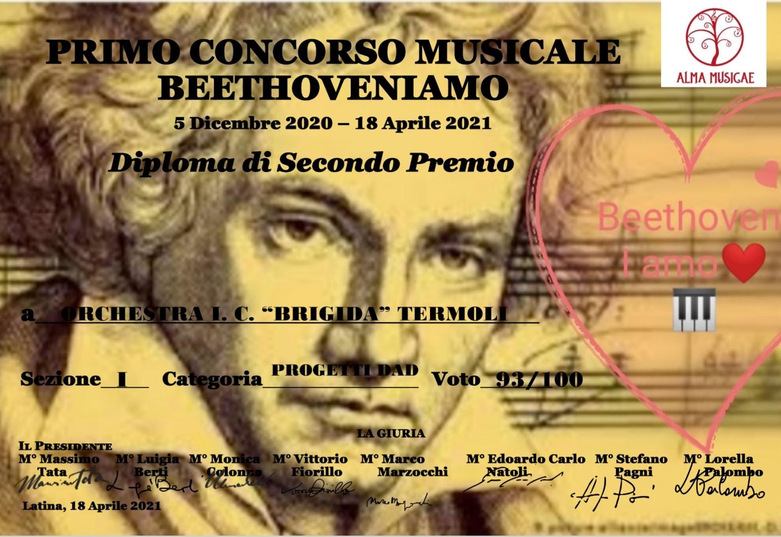 """Concorso Musicale """"BEETHOVENiAMO"""" – premiata l'arte della BRIGIDA"""